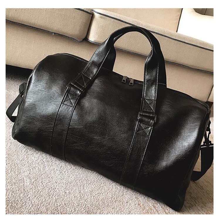 Fashion New Black PU Leather GYM Travel Bags Wholesale