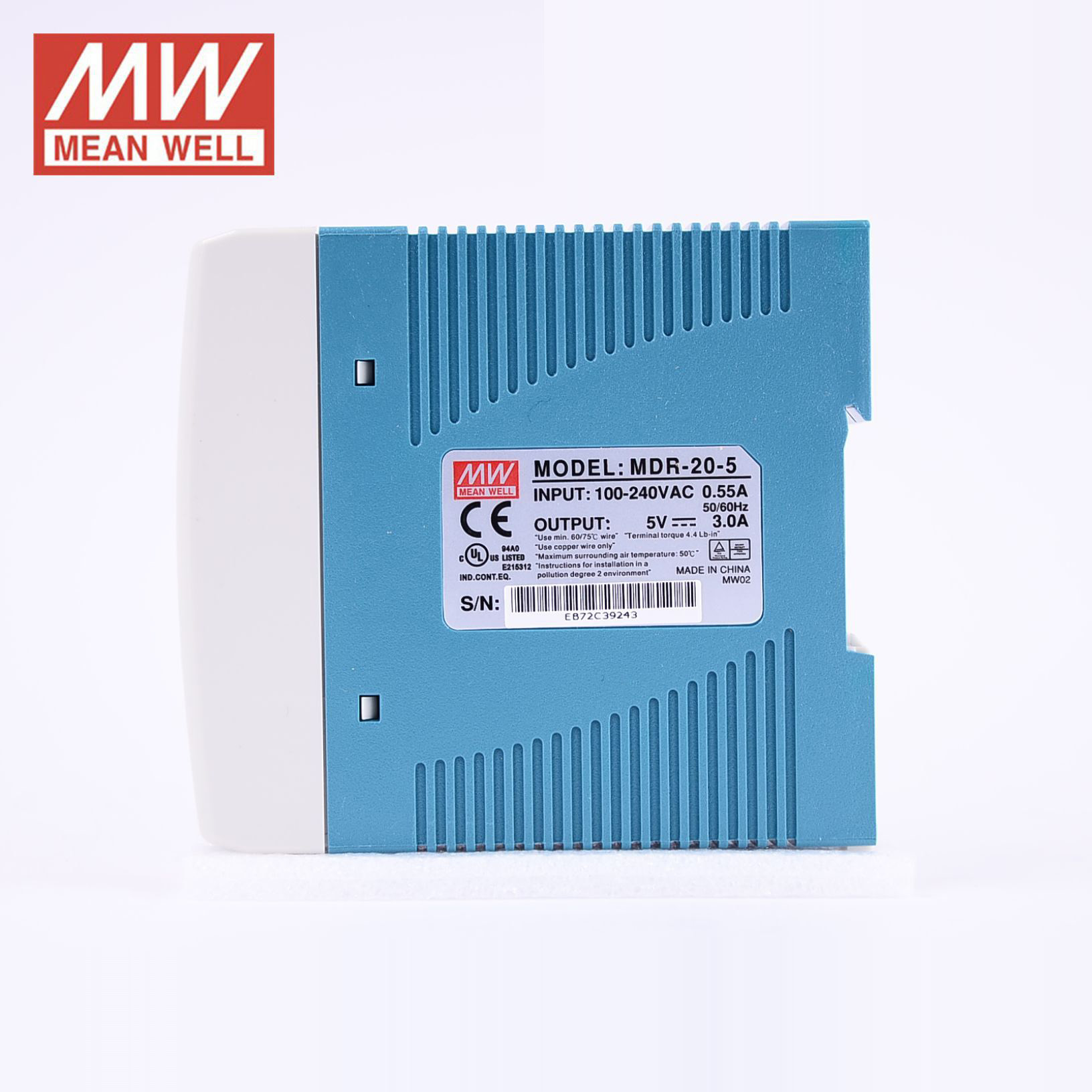 Mean Well Din-Rail power supply 15W 5V 3A ; MeanWell MDR-20-5