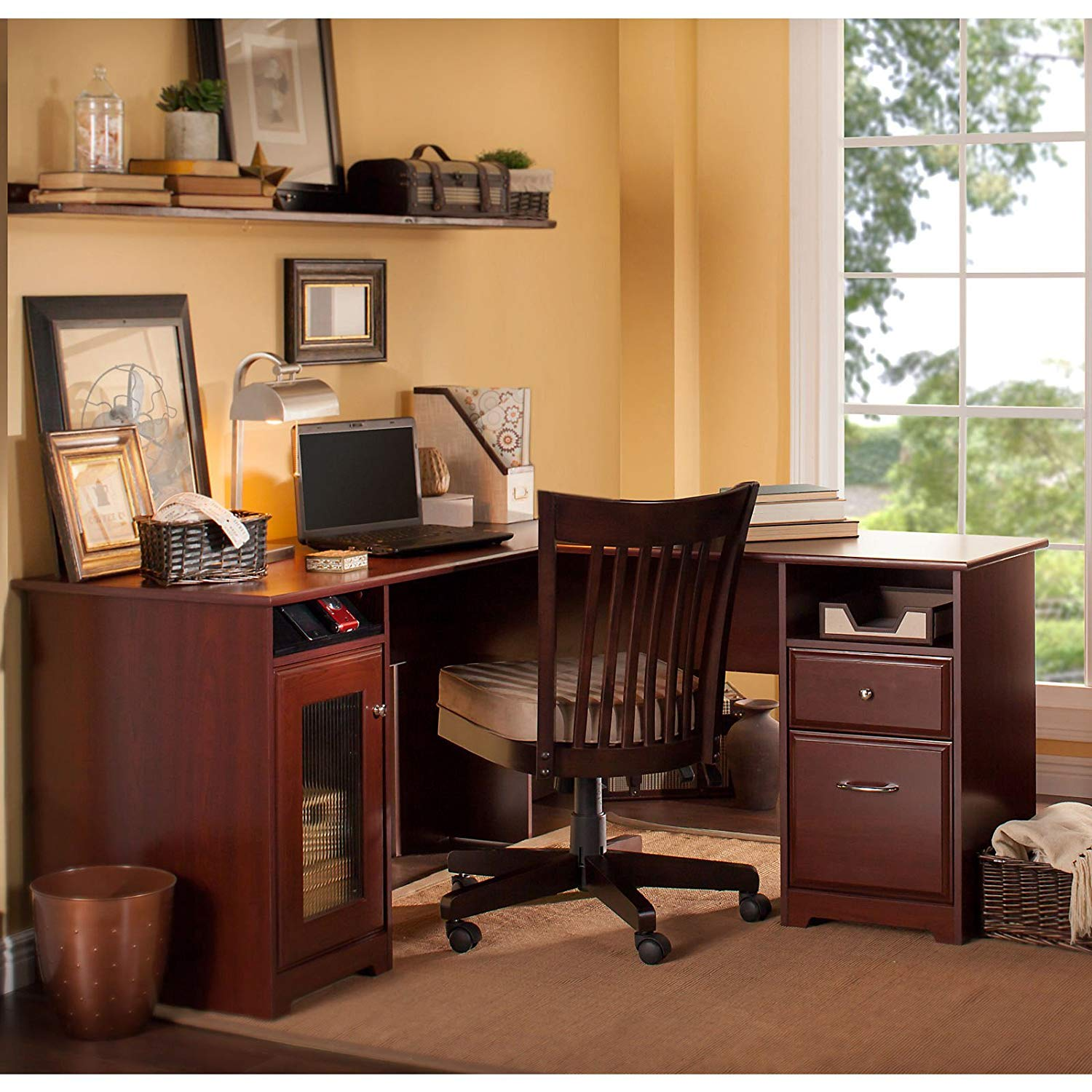L Shaped Office Writing Desk With File Drawer And Glass Door Cabinet, Open And Closed Storage Space, Workspace, Functional Furniture, Ideal For Home Office, Corner Desk, Cherry Finish + Expert Guide