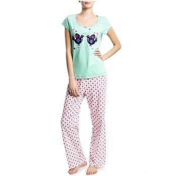 d34de297d1d9 Women Short Sleeve Bird Embroidered Cotton Pyjamas - Buy Organic ...