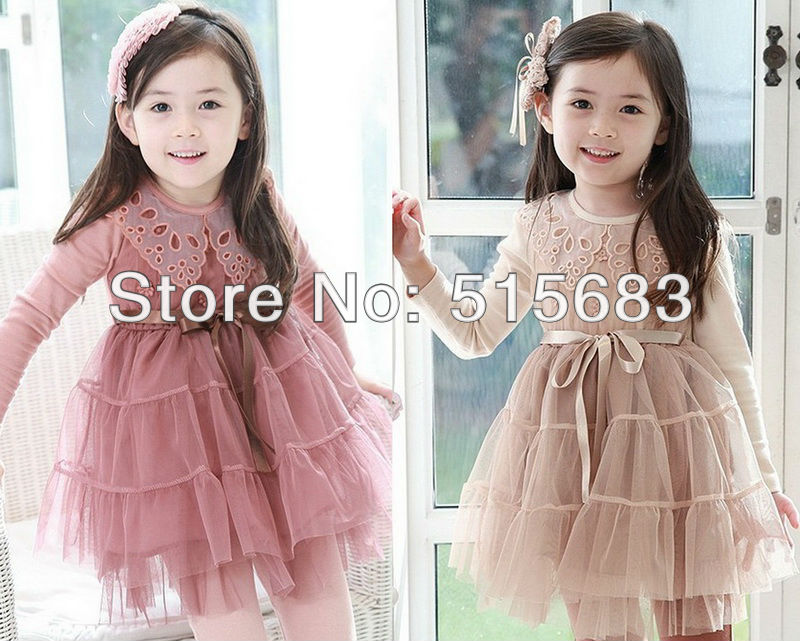 Kids Toddlers Girls Party Long Sleeve Tulle font b Dress b font Lace Collars Age2 7Y