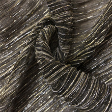 Silver Fancy Yarn Dress Skirt Crinkled Metalline Long Pleated Fabrics