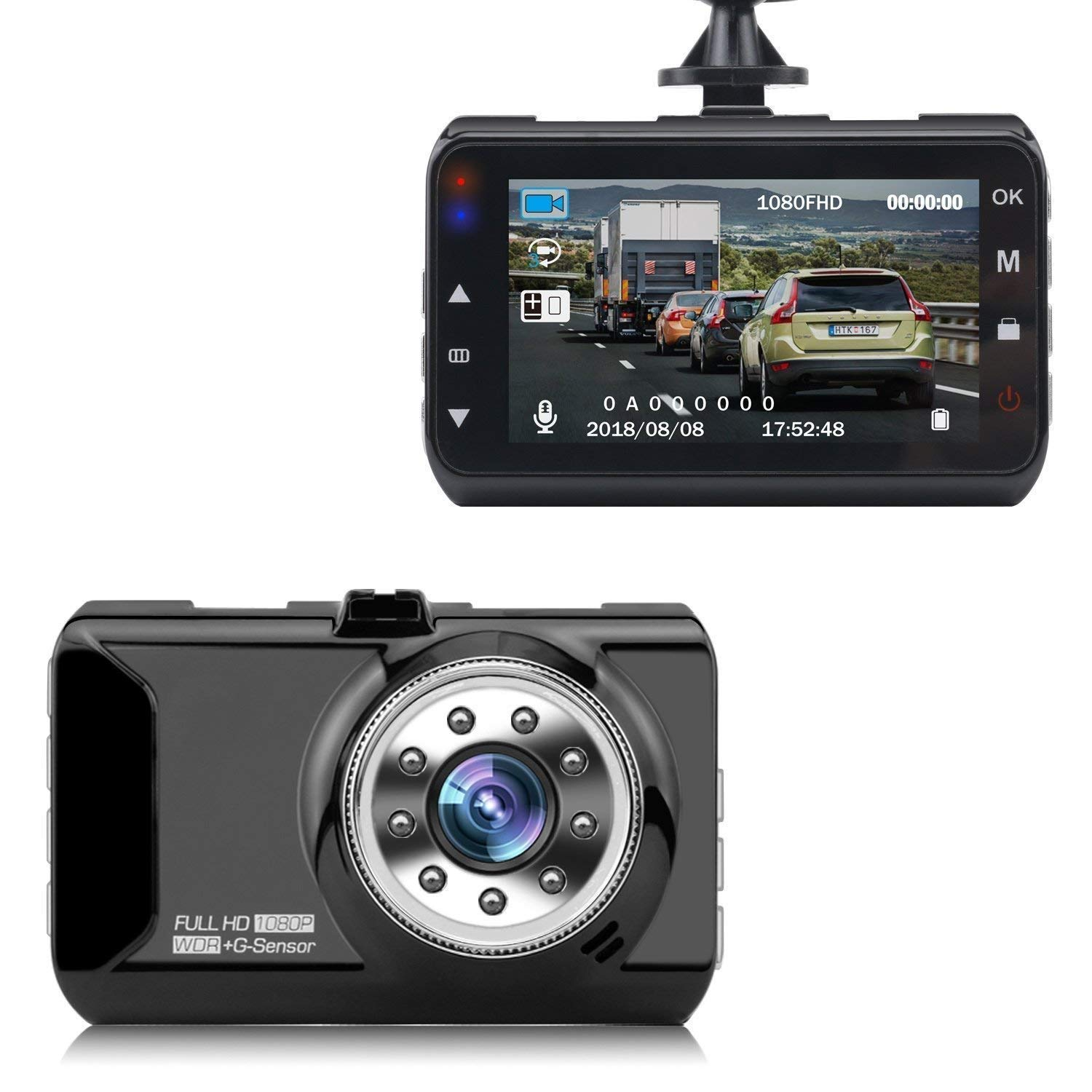 "Dash Cam, coolsun Dashboard Camera Recorder 3.0""LCD FHD 1080P, Car Cam Vehicle DVR Built-in Night Vision, WDR, G-Sensor, Loop Recording."
