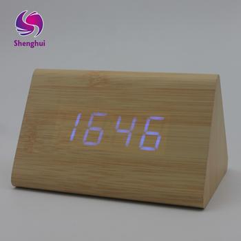 4 colores de gran tamaño LED de madera relojes de alarma con termómetro  rectángulo relojes clásico 67557361e121