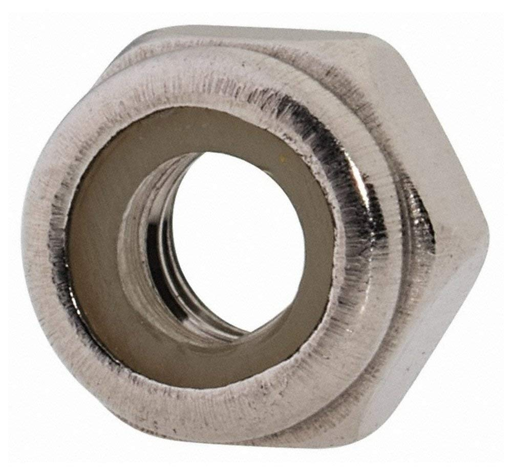 M4x0.70 Metric Coarse, 316, Austenitic Grade A4 Stainless Steel Hex Lock Nut with Nylon Insert 7mm Width Across Flats, 5mm High, Right Hand Thread, Uncoated Finish
