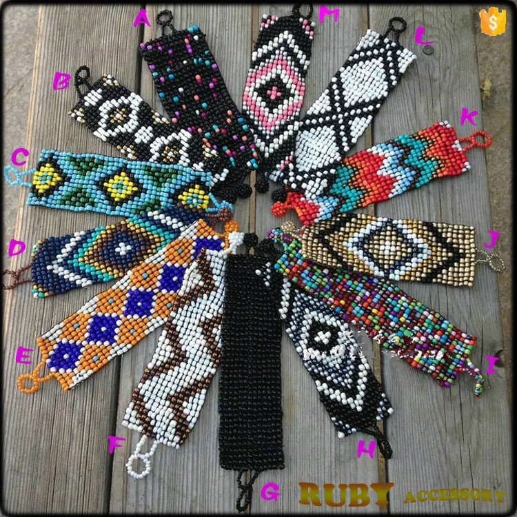 Hot selling miyuki seedbeads beaded bracelets bangles type and colorful woven bracelet BR0050