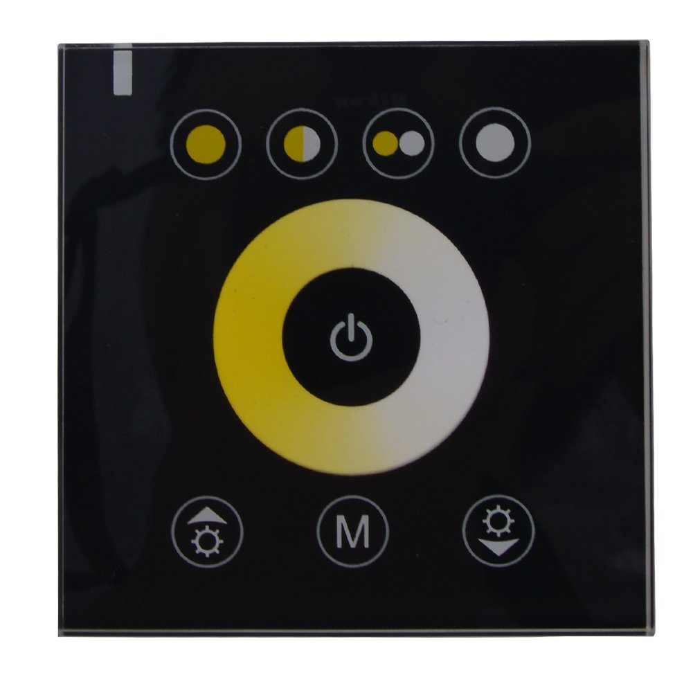 Yaqing Lighting RGB/RGBW/Single Color/Color Temperature Wall-mounted LED Touch Switch Panel Controller LED Dimmer for DIY Home Lighting DC12V LED Strip Lights (Color Temperature Black Shell)