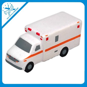 Promotion gifts for hospital squishy ambulance car shaped soft pu foam kids stress ball vehicle toys