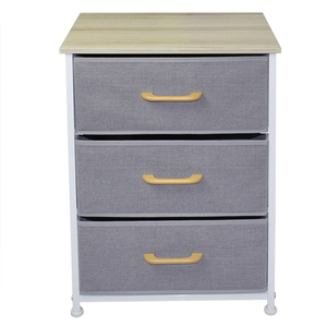 Grey fabric non-woven storage boxes Household stopper wheels 3 Drawer shelf Storage Chest rack with Metal Frame Wood top