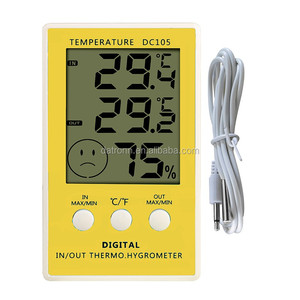 DC105 indoor/outdoor electronic max/min memory of temperature &humidity meter display with one meter cable sensor