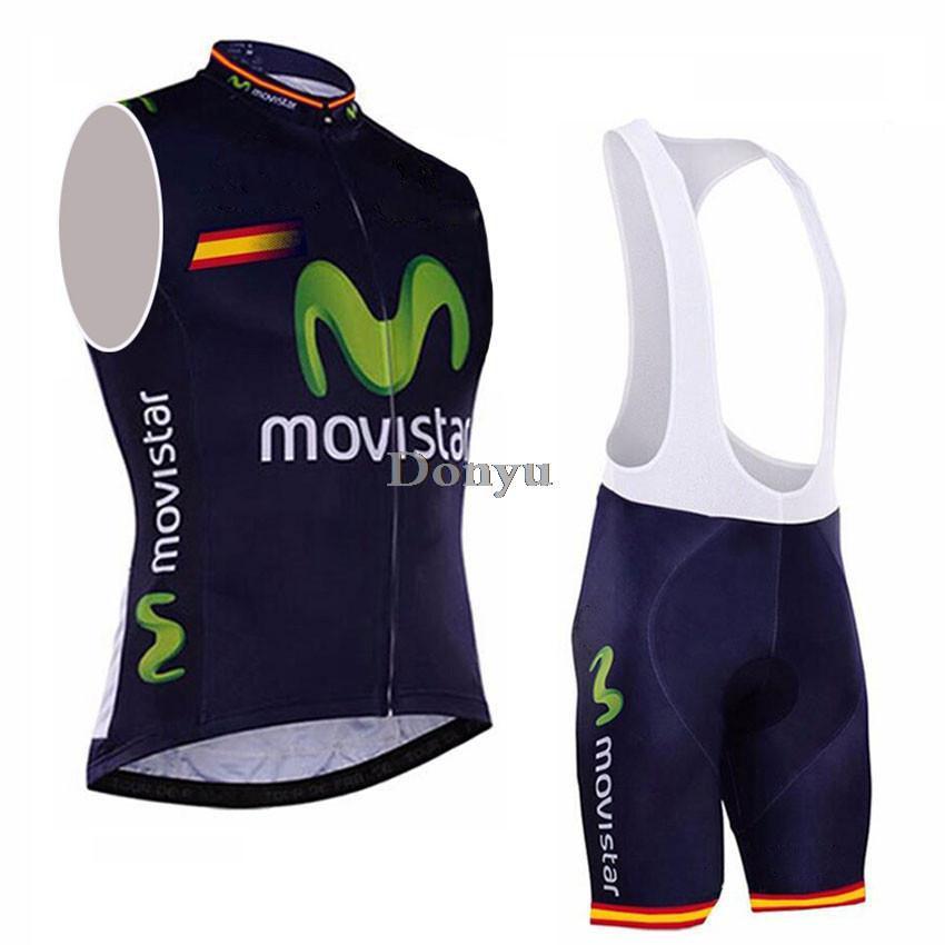 Movistar 2015 sin mangas chaleco de ciclismo del babero fijó desgaste de la  bicicleta ropa Ropa dfd36abd4