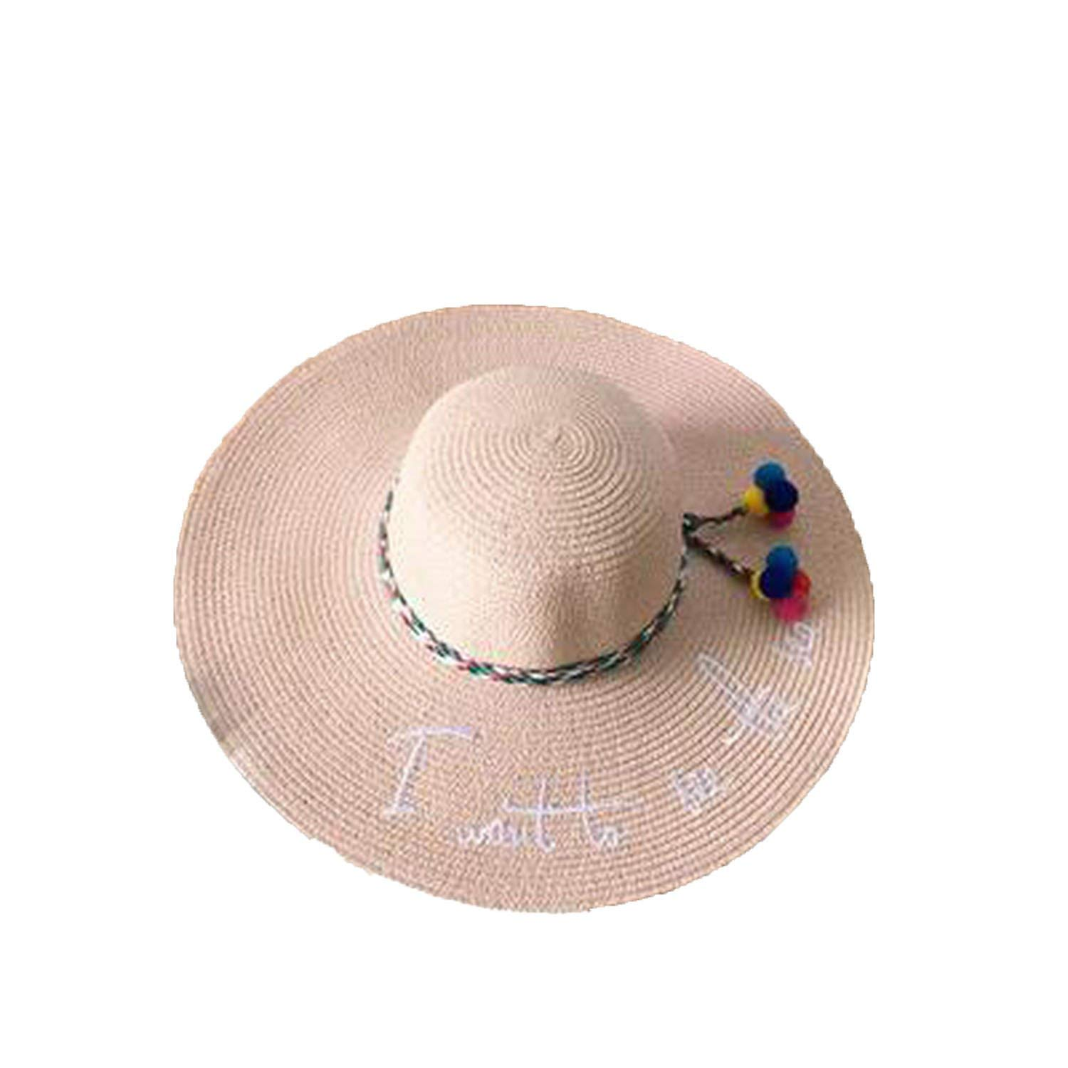 Collocation-Online 2018 Letter Embroidery Cap Big Brim Ladies Summer Straw Youth Hats for Women Sunhat