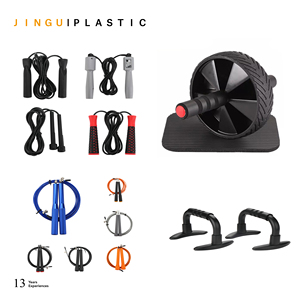 4-in-1 Exercise Kits Ab Wheel Roller+ Knee Mat+Jump Rope + Push Up Bars OEM Logo Color Box Package Amazon Hot Selling