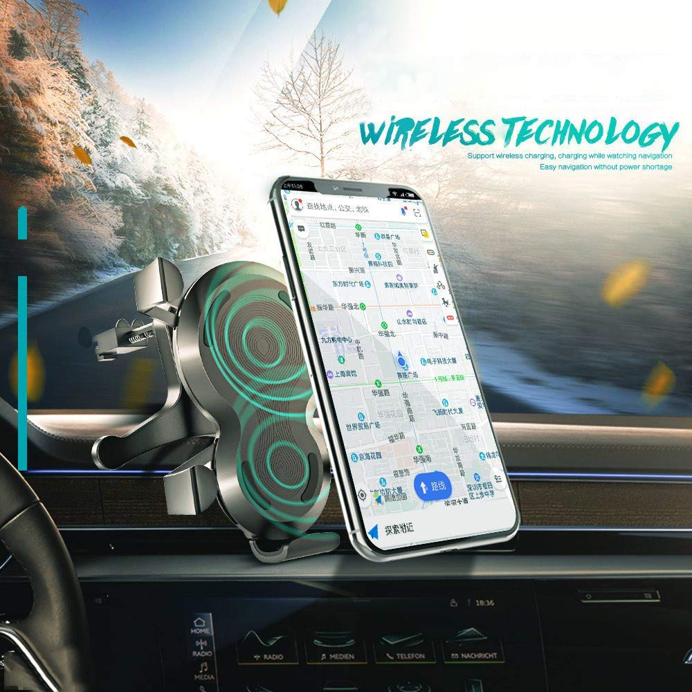 Glumes Wireless Car Charger, Phone Holder, Universal 360° Rotating Air Vent Magnetic Phone Car Mounts Holder for iPhone X 8 7 Plus 6S 6 5s 5 SE, Galaxy S9 S8 S7 S6 Edge, Mini Tablet (Black)