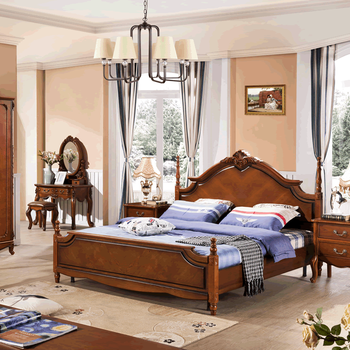 Classical High End Solid Wood Carving 1.8 Meter Bed Wooden Bedroom ...