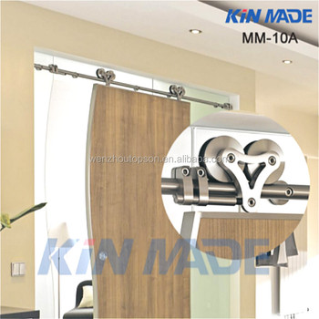 Glass Wood Hollow Head Stainless Steel Sliding Hanging Barn Door