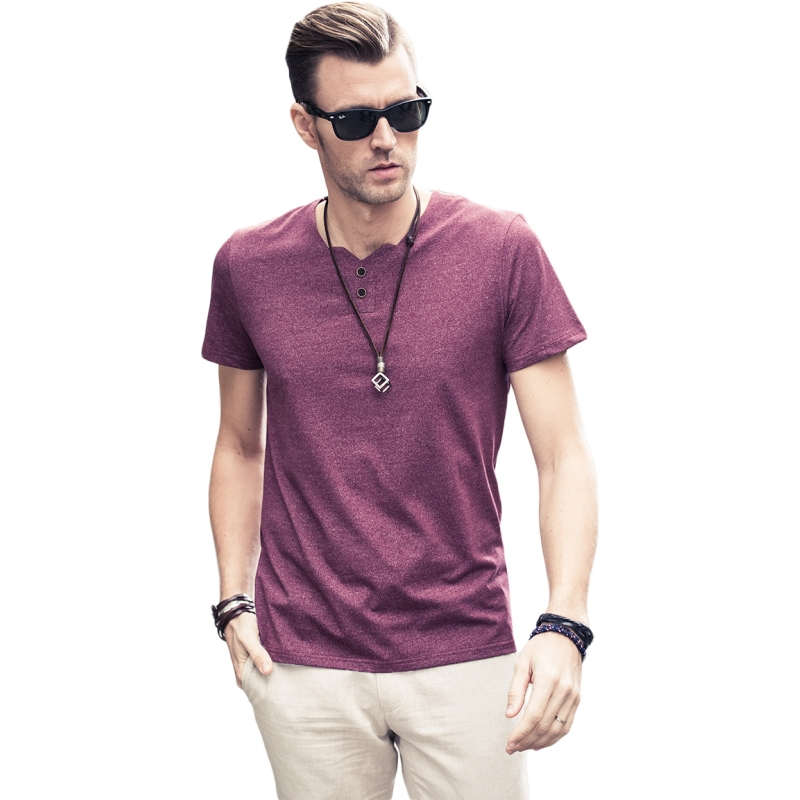2015 summer men V tail character brought pure color cotton coat of cultivate one's morality T-shirt mens t shirts fashion 2015