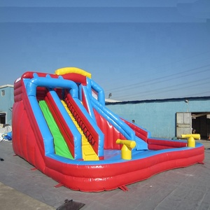 Double lanes accommodate many people small or big full size jumbo water slide inflatable bounce