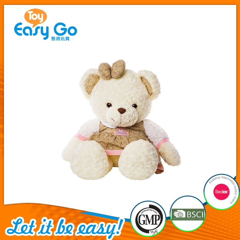 Best selling Economical Plush Teddy Bear toy With Trendy Floral Dress and Bowknot