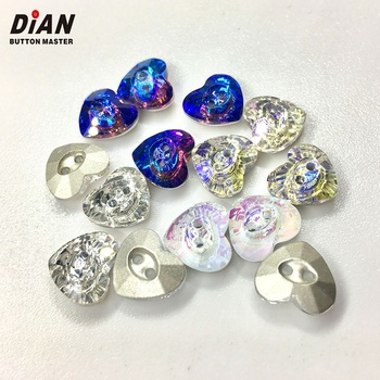 Fashion heart shape 2 holes10mm colorful lady women clothing garment shirt crystal buttons for clothes