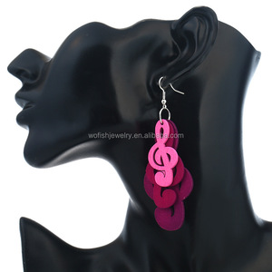 Triple layers wooden Music Symbol music sign G Clef earring