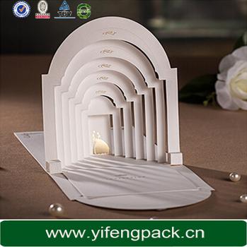 china wholesale luxury fashion e co friendly die cut pop up wedding invitation card - Pop Up Wedding Invitations