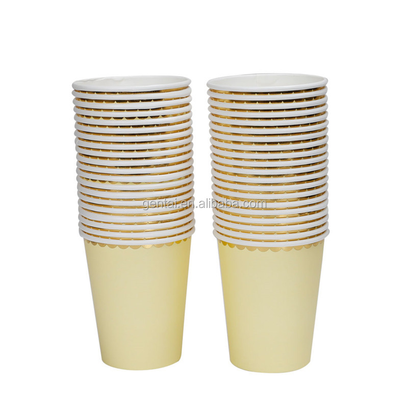 Wholesale New Hot Sell Disposable 250gsm  9 oz Yellow Gold Border Paper Cups
