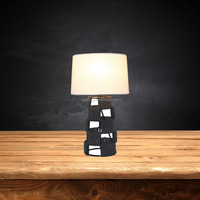 Fancy fabric lampshade paper rope table lamp for living room table light