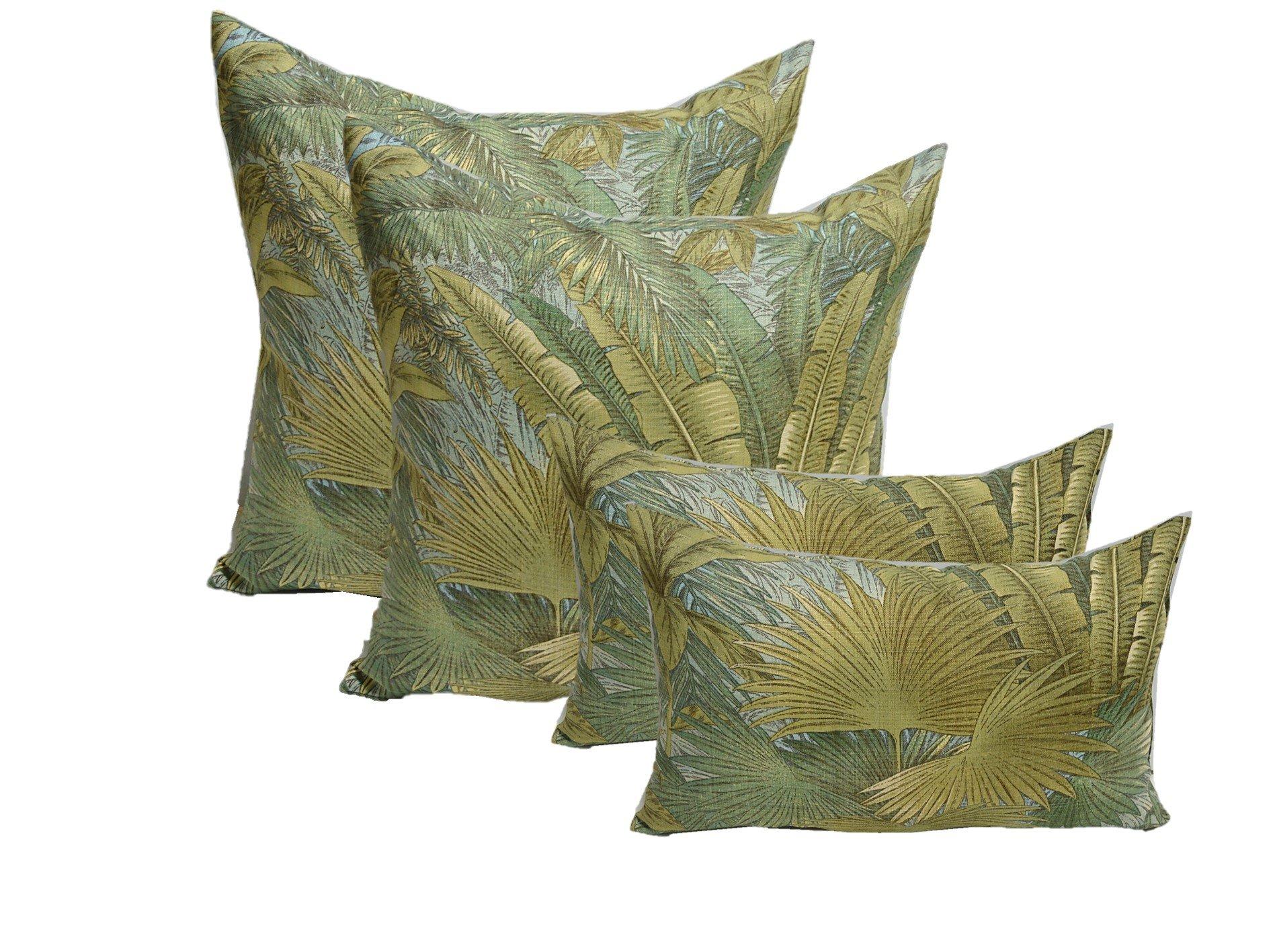 """Set of 4 Indoor / Outdoor Pillows - 17"""" Square Throw Pillows & 11"""" x 19"""" Rectangle / Lumbar Decorative Throw Pillows - Green, Tan, Blue Tommy Bahama Bahamian Breeze Surf Fabric"""