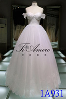 1A931 Princess Sweetheart Lace Neckline Off Shoulder Cap Sleeve Ball Gown Wedding Dress