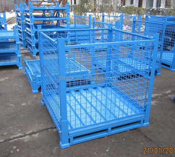 Collapsible wire box mesh crate for bulk cargo foldable for Metal shipping crate