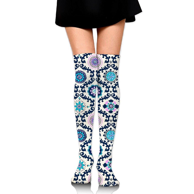 d3b98ca0c Get Quotations · Zaqxsw Striped Flower Women Retro Thigh High Socks Cotton  Socks For Womens