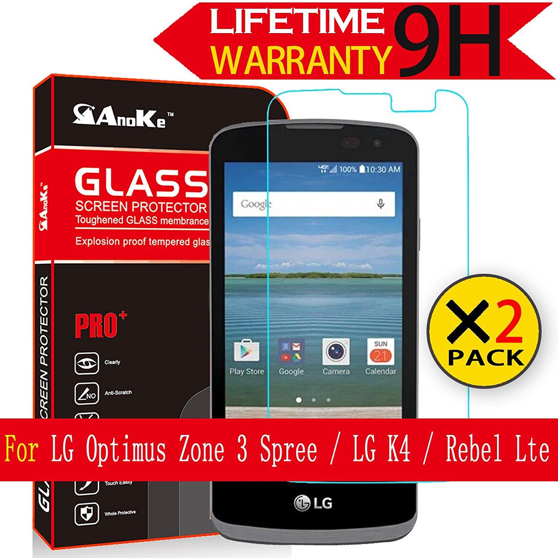 LG Optimus Zone 3 Screen Protector,(LG Spree / K4 / Rebel Lte) [3 Pack] AnoKe [Tempered Glass] [Case Friendly][0.3mm 9H 2.5D] Clear Tempered Screen Protector Film Shield Guard for LG K4 Glass - 3Pack