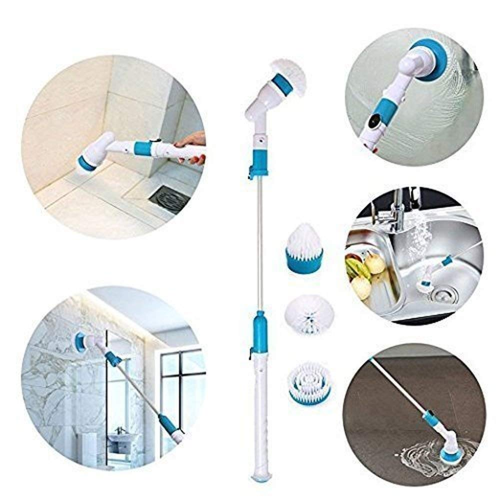 Electric Spin Scrubber Turbo Powerful Cleaning Brush 3 Replaceable Brush Heads Extension Handle Bathroom Floor Tiled Wall Tub Rechargeable Cordless Power Automatic Cleaner