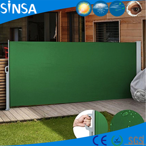 100% UV protected polyester outdoor folding retractable aluminium green screen side awning