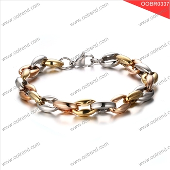 Two tone design oval shape design girl and women stainless steel bracelet jewelry