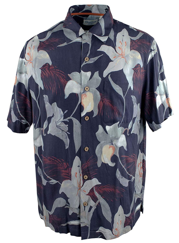 471641e6 Get Quotations · Caribbean Men's Big and Tall Tropical Print Woven Short  Sleeve Silk Shirt