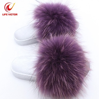 High Quality Women Slippers Soft Faux Fur Custom Slide Sandal