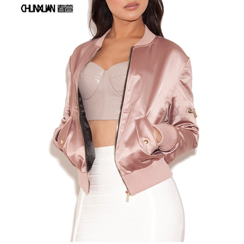 2019 Women Casual wholesale fashion polished cotton fabric short bomber puff  jacket