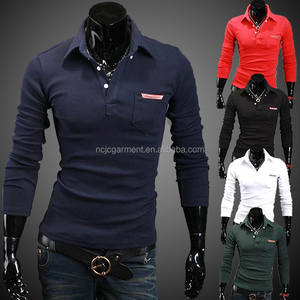 Formal business brand shirts mens long sleeve polo shirt with pocket fahsion t-shirt wholesale