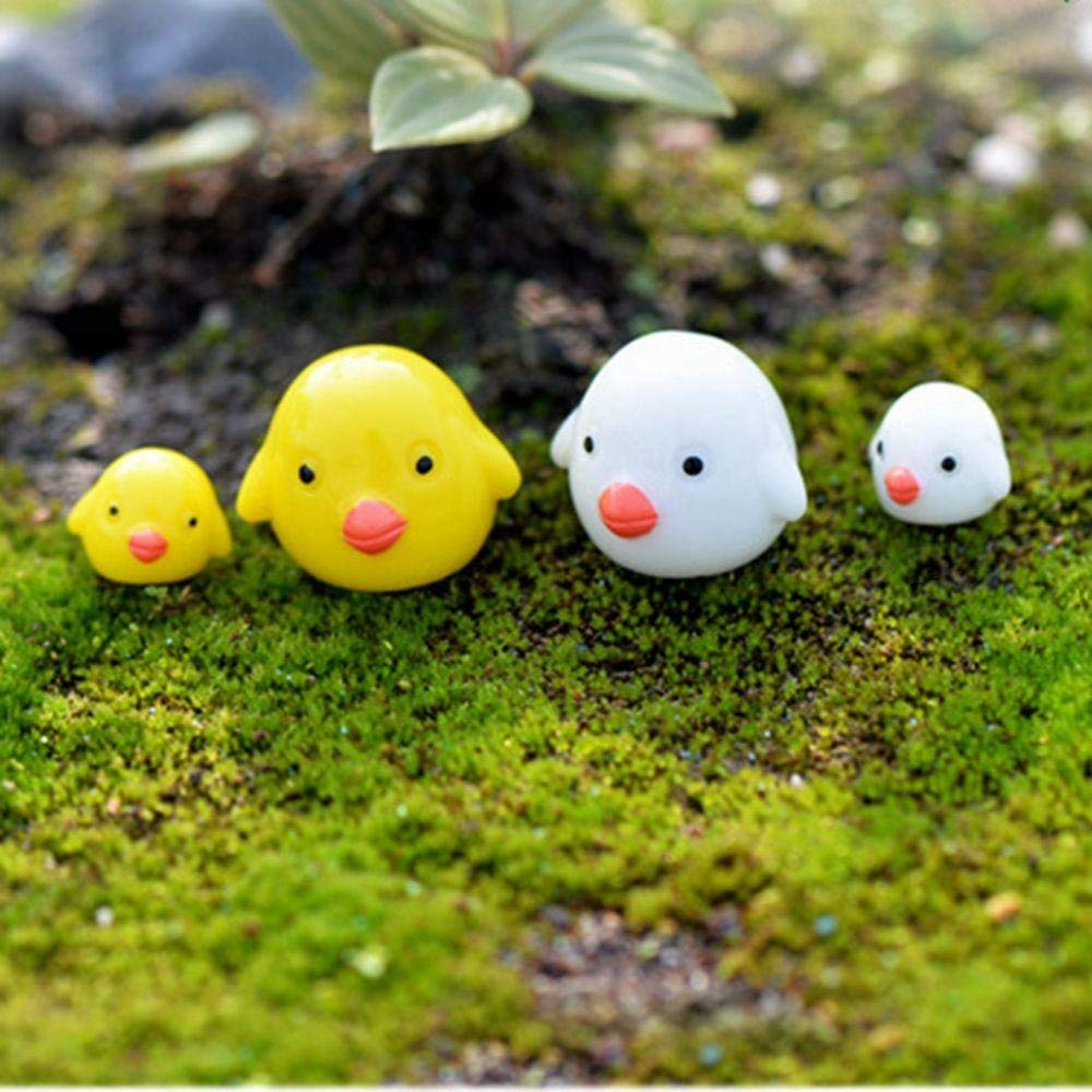 Pushhr 4pcs/lot Cute Resin Craft Moss Plant Pot Garden Ornaments Miniature Figurine Landscape Decoration Cartoon Chicken