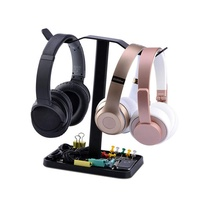 Black Dual Gaming Headset Headphone Stand Holder with Tray Organizer