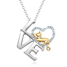 Latest Design Love Shape 925 Sterling Silver Jewelry Gold Plated Cat Necklace