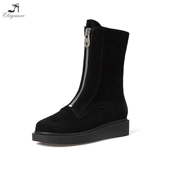 40f11291440 Chengdu Winter Leather Shoes Black Zipper Flat Platform Women Boots ...