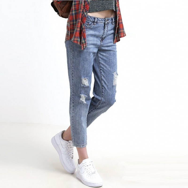 e293d331860 Get Quotations · Plus Size Women Distrressed Jeans Ripped holes on knees  2015 Summer New Fashion Loose Capris Pockets