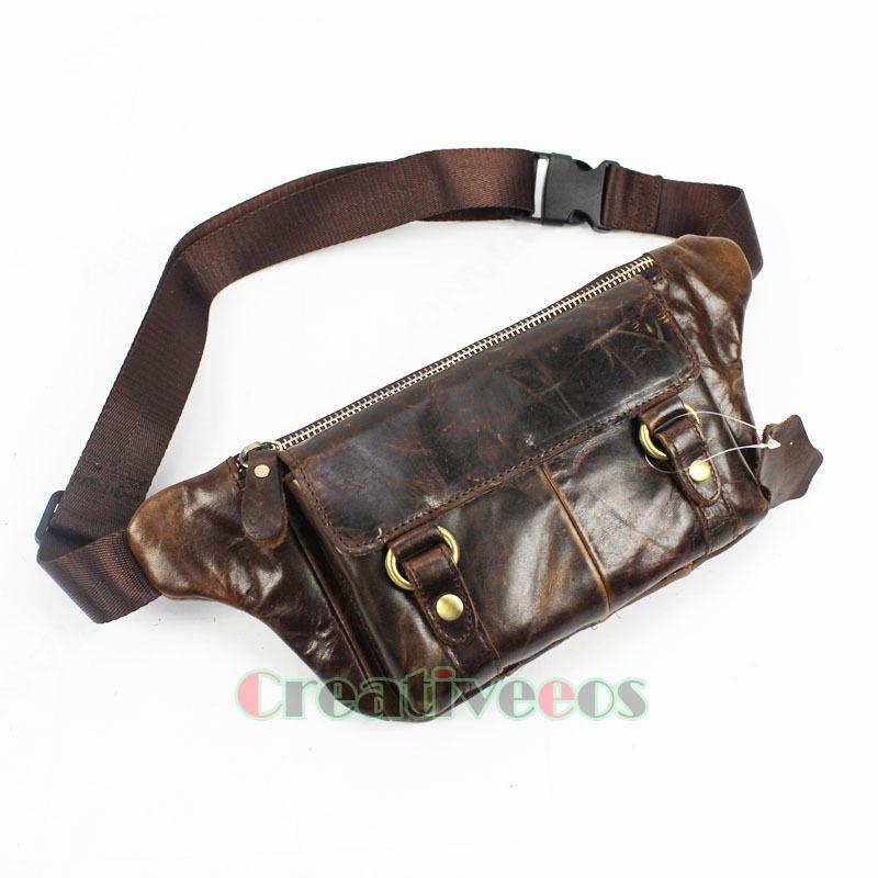 c825ecd26fe3 Style Messenger Chest Fanny Pack Waist Bag. Get Quotations · 2015 Men Oil  Wax Genuine Leather Cowhide Vintage Belt Bukle Travel Cell Mobile Phone Belt
