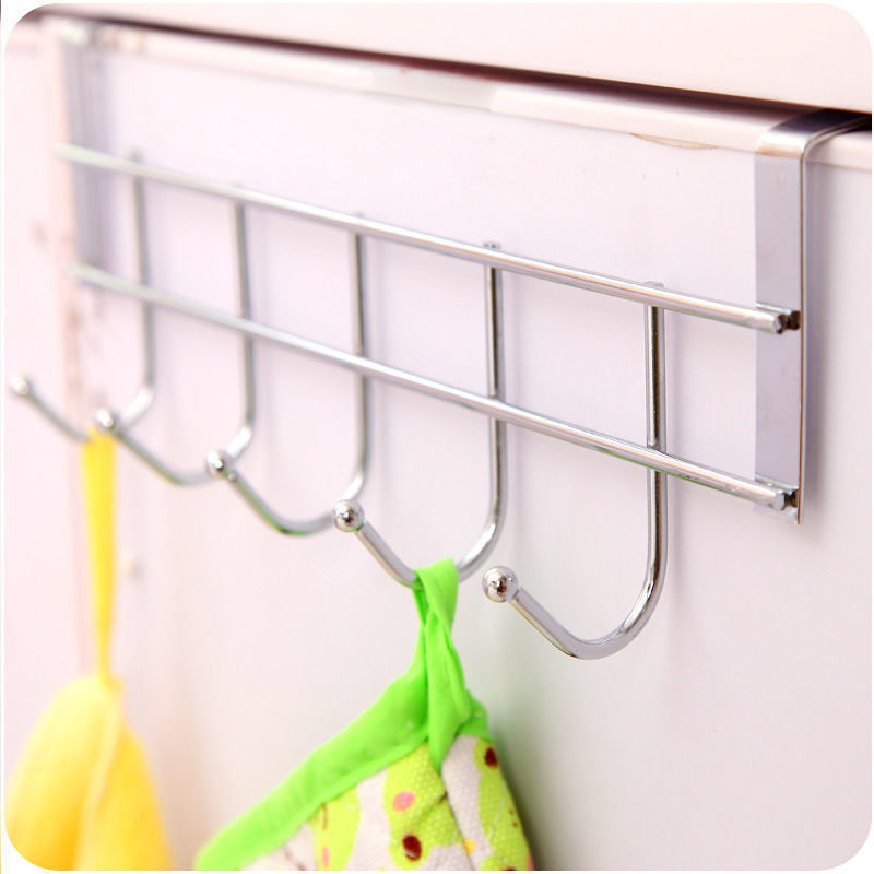 5 Hooks Over Door Home Bathroom Kitchen Coat Towel Loop Hanger Rack Holder