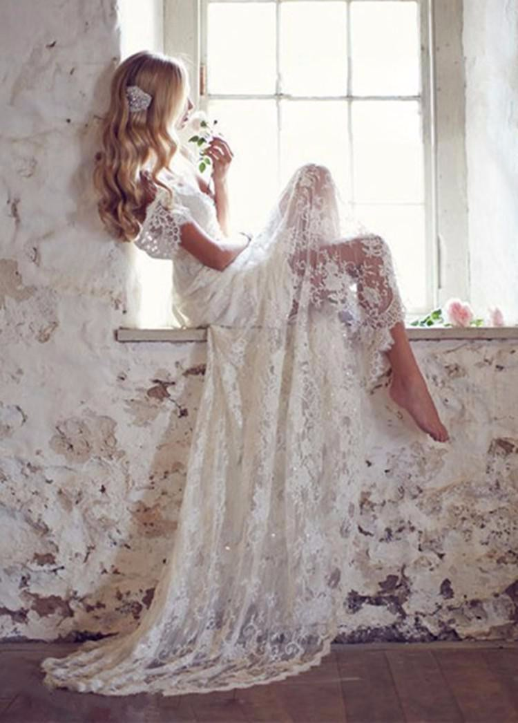 SE 34 Vintage Lace Wedding Dress With Cap Sleeves Beach ...