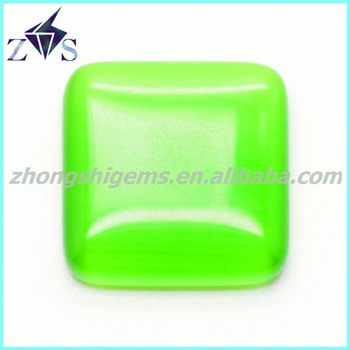 square shape apple green color cat eye flat beads - Apple Green Color