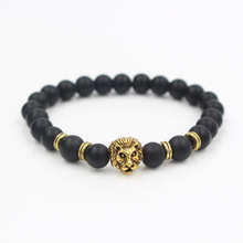 Black Natural Stone Matte Beads Bracelet Men Copper Lion Head Lava Charms Bracelets